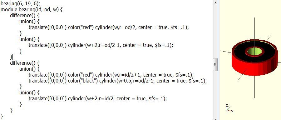 OpenSCAD Parametric Ball Bearing Script