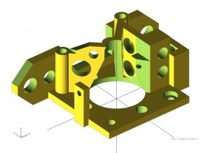 OpenSCAD 3D printer bowden extruder base model