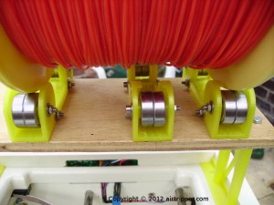 Filament Reel Rollers on Rack with Spool