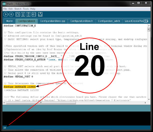 Arduino ide showing line number location