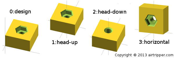 Hex Nut Capture Socket Rotation Options For 3D Printing