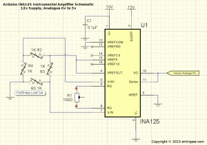 Arduino INA125 Instrumental Amplifier Schematic