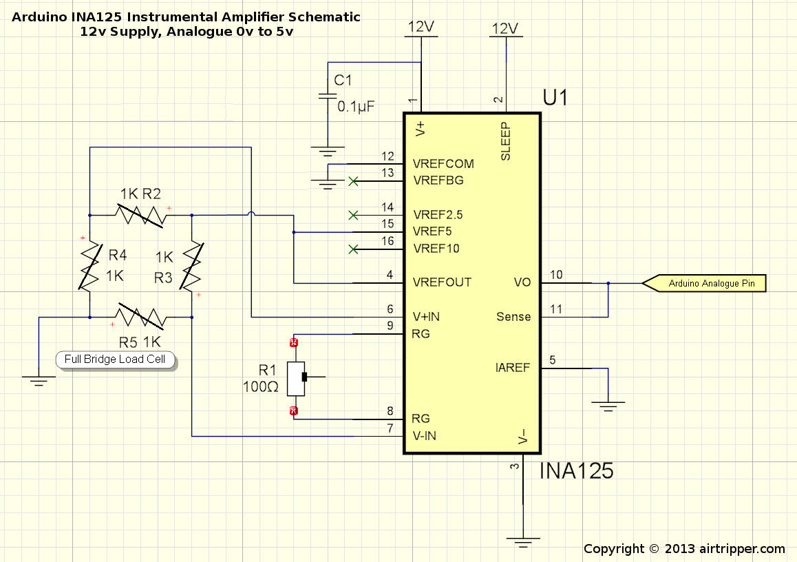 Arduino ina instrumental amplifier schematic