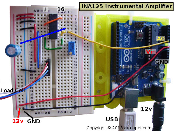 INA125 Instrumental Amplifier Breadboard Circuit