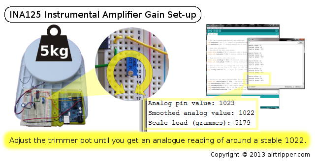 Arduino Load Cell INA125 Instrumental Amplifier Gain Set-up