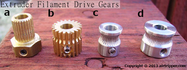 3D Printer Extruder Filament Drive Gears